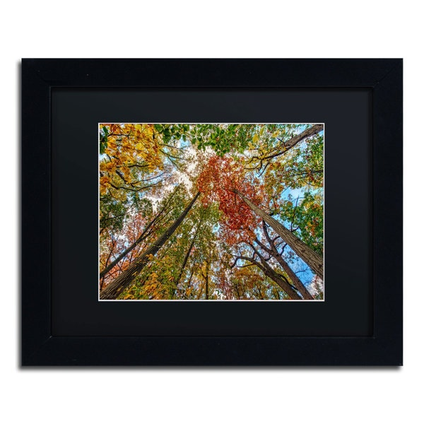 David Ayash 'New York Fall-I' Black Matte, Black Framed Wall Art