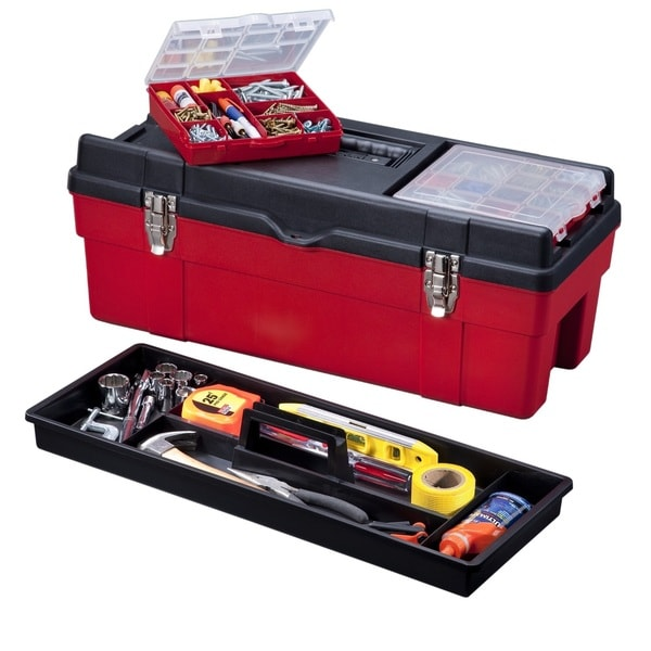 Stack-On 26-inch Plastic Tool Box with 2 Removable Boxes-Red