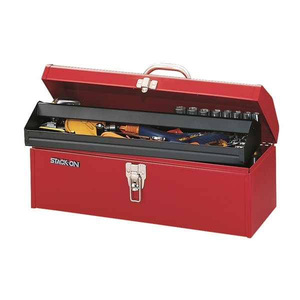 Stack-On 19-inch Multi-Purpose Hip Roof Tool Box, Red