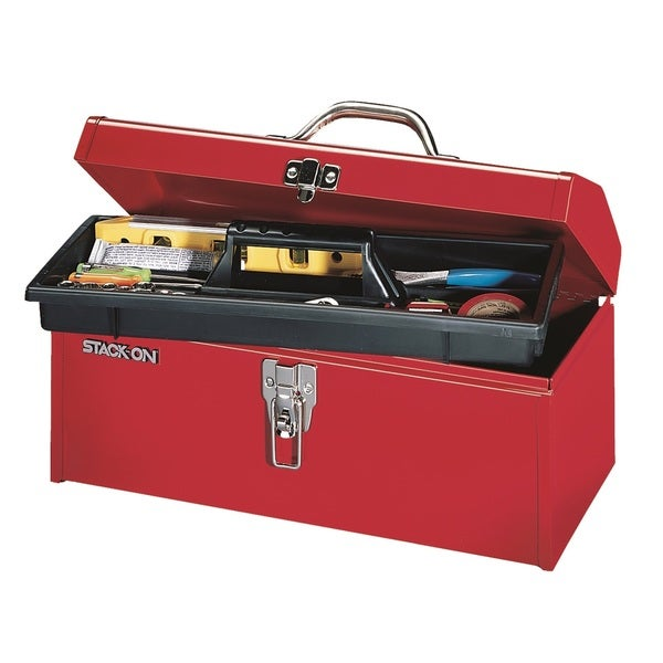 Stack-On 16-inch Multi-Purpose Hip Roof Tool Box, Red