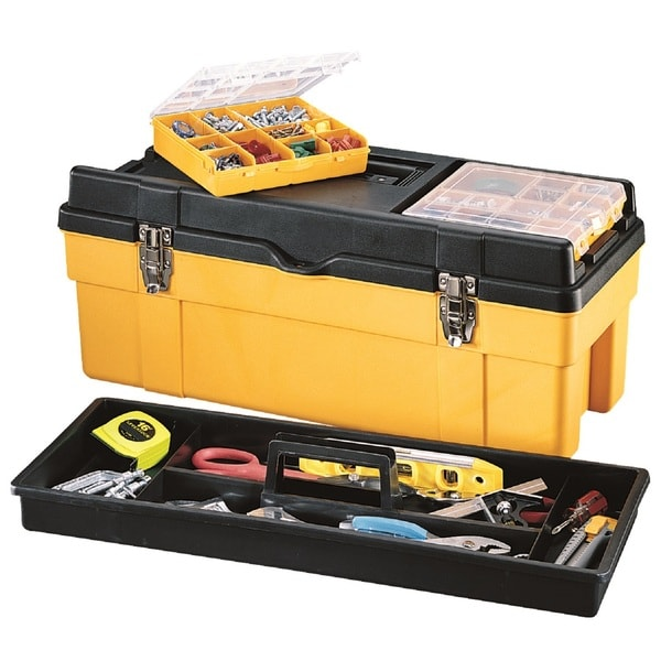 Stack-On 26-inch Plastic Tool Box with 2 Removable Boxes-Yellow