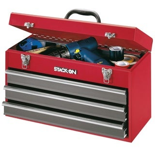 Stack-On 20-inch 3 Drawer All Steel Portable Tool Chest, Red