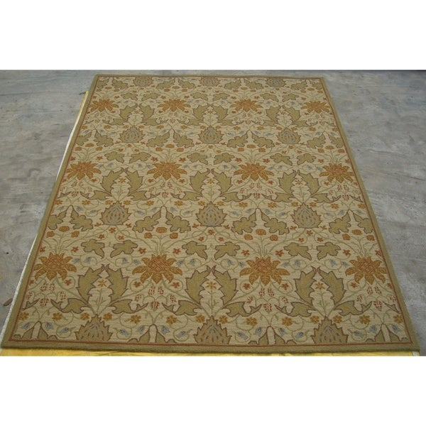 Sheffield Beige Floral Wool Rug (9' x 12')