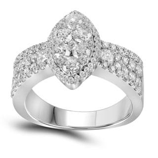 10k White Gold 1 3/4ct TDW Diamond Marquise Engagement Ring (G-H, I1-I2)