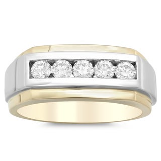 14k Two-tone Gold Men's 1ct TDW Diamond Ring (F, VS2-SI1)