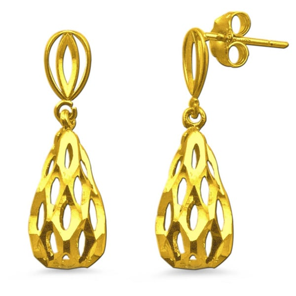 10k Yellow Gold Diamond-cut Open Teardrop Earrings
