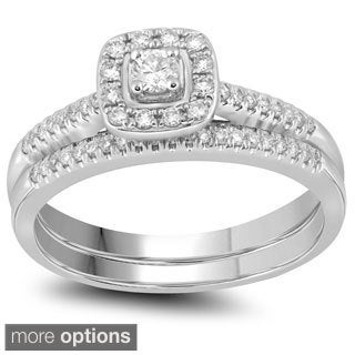 10k Gold 1/3ct TDW Round-cut Diamond Halo Bridal Ring Set (H-I, I1-I2)