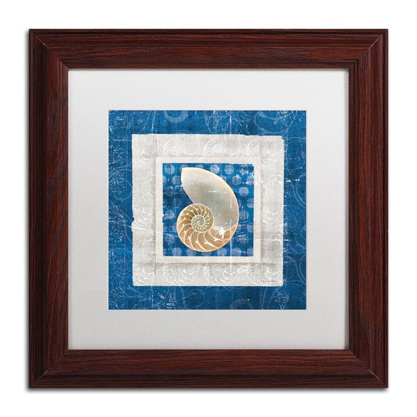 Belinda Aldrich 'Sea Shell II on Blue' White Matte, Wood Framed Wall Art