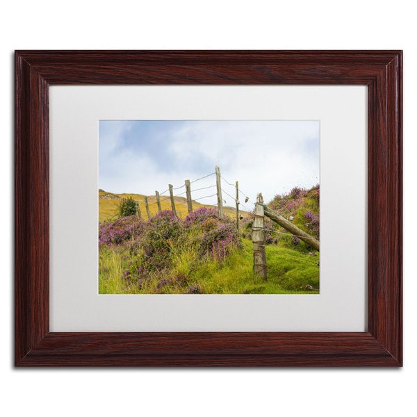 Philippe Sainte-Laudy 'Fence Heather' White Matte, Wood Framed Wall Art