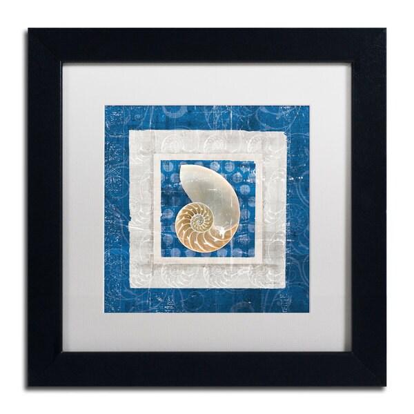 Belinda Aldrich 'Sea Shell II on Blue' White Matte, Black Framed Wall Art