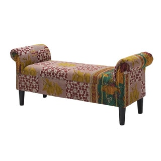 Jennifer Taylor One of a Kind Kantha Multlicolored Roll Arm Bench