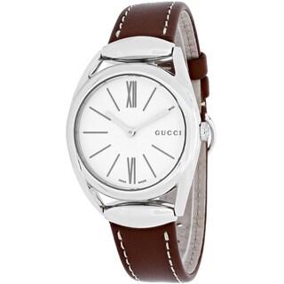 Gucci Women's YA140502 Horsebit Round Brown Leather Strap Watch