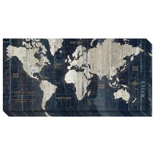 Wild Apple Portfolio 'Old World Map Blue' Gallery Wrap Canvas 36 x 18-inch