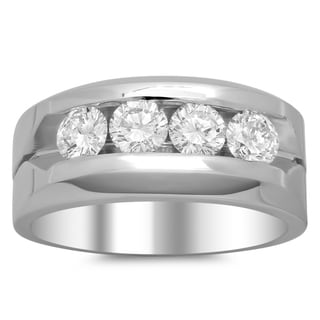 14k White Gold Men's 1 3/4ct TDW Diamond Ring (F-G, SI1-SI2)