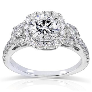 Annello 14k White Gold 1 3/4ct TDW Round Diamond Three Stone Halo Engagement Ring (H-I, I1-I2)