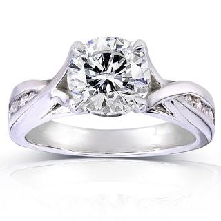 Annello 14k White Gold 1 1/10ct TDW Round Diamond Engagement Ring (H-I, I1-I2)