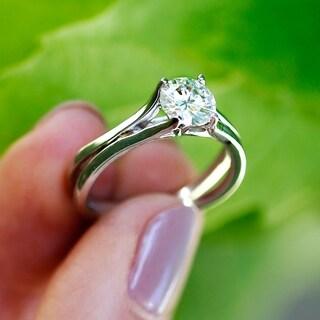 Annello 14k White Gold 1ct Round Brilliant Diamond Solitaire Flared Band Engagement Ring (H-I, I1-I2)