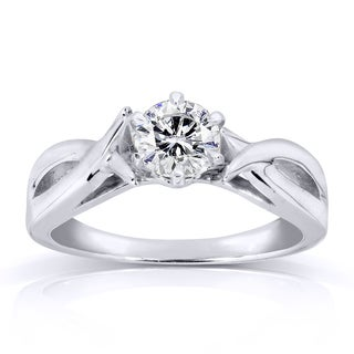Annello 14k White Gold 1/2ct Diamond Solitaire Engagement Ring (H-I, I1-I2)