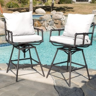 Northrup Outdoor Adjustable Pipe Barstools (Set of 2) by Christopher Knight Home