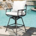 Christopher Knight Home Northrup Pipe Outdoor Adjustable Barstool with Cushions