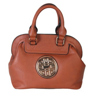 Diophy Double Happiness Signature Logo Emblem Faux Leather Satchel