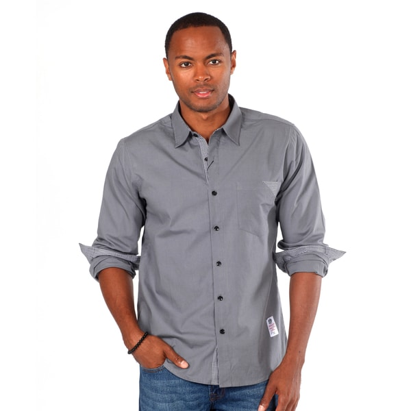 Something Strong Men's Solid Grey Shirt with Pocket Detail