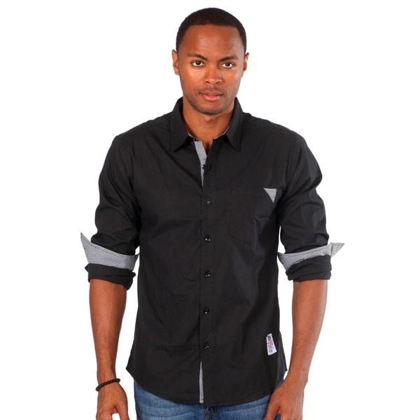 Something Strong Men's Solid Black Shirt with Pocket Detail