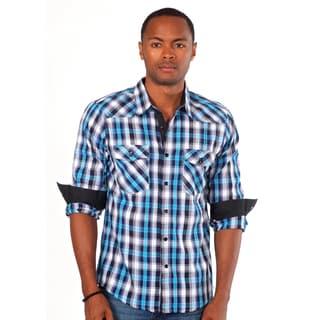Something Strong Men's Blue Plaid Western Shirt