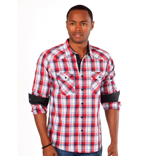 Something Strong Men's Plaid Western Shirt in Red