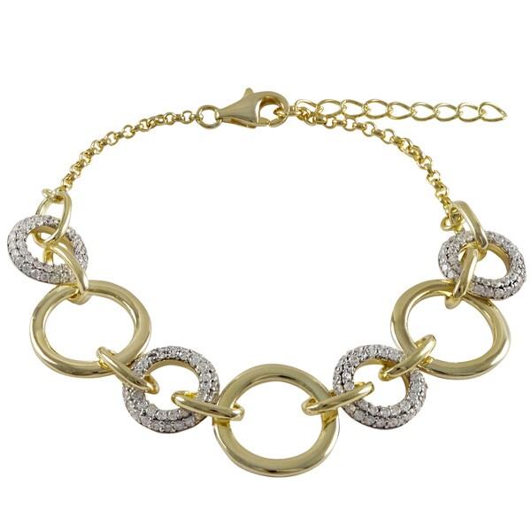 Two-tone Gold Finish Pave Cubic Zirconia Circle Link Bracelet