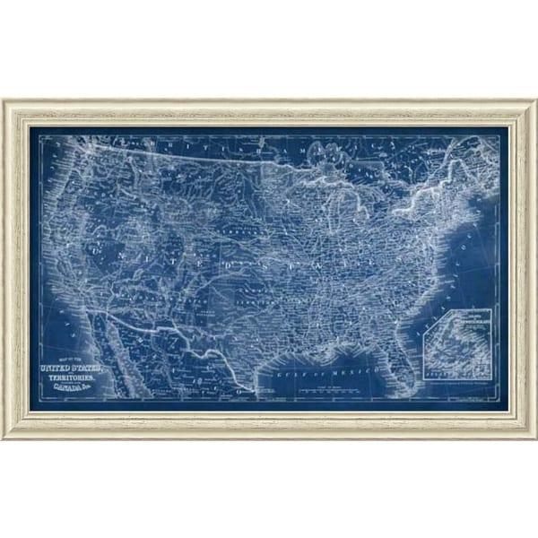 Vision Studio 'US Map Blueprint' Framed Art Print 44 x 28-inch