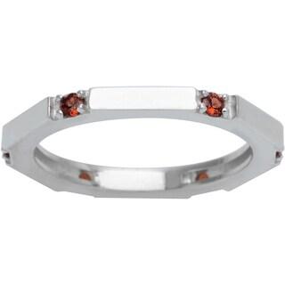 Sterling Silver 6-stone Round Birthstone Eternity Ring