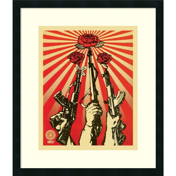Shepard Fairey 'Guns and Roses: Obey' Framed Art Print 24 x 28-inch