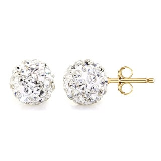 Pori 14k Yellow Gold Clear Pave Crystal 7.5mm Ball Stud Earrings