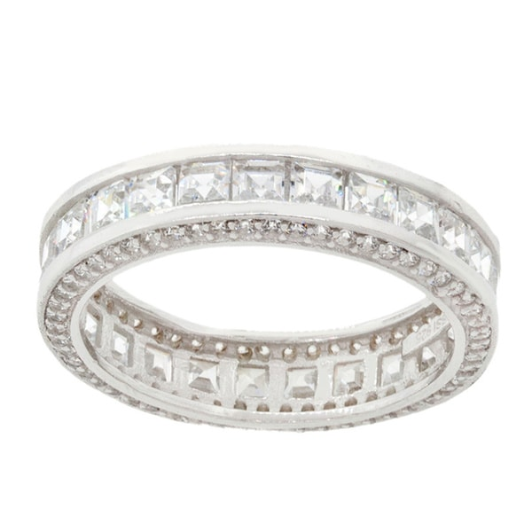 18k White Goldplated Sterling Silver Princess-cut Inside-out Cubic Zirconia Eternity Band
