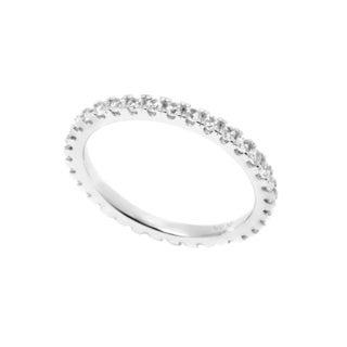 Pori 18k White Goldplated Sterling Silver 2mm Round Prong Cubic Zirconia Eternity Band