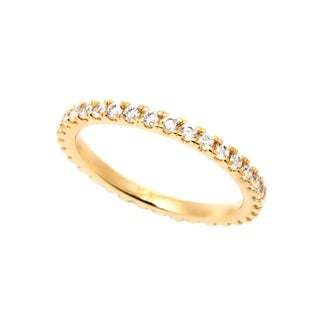 18k Yellow Goldplated Sterling Silver 2mm Round Prong Cubic Zirconia Eternity Band