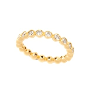 18k Yellow Goldplated Sterling Silver Round Bezel Cubic Zirconia Eternity Band