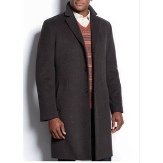 Nautica Men's Brown Herringbone Single-Breasted Wool Topcoat