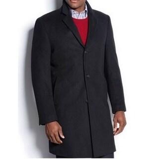 Nautica Men's Black Single-breasted Wool Blend Topcoat