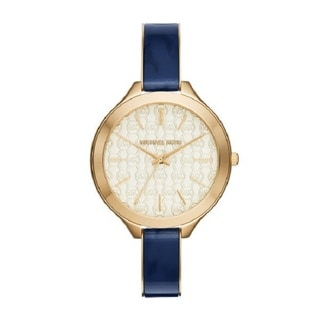 Michael Kors Women's Slim Runway White Designed Dial Blue Acetate Bracelet Watch MK4309