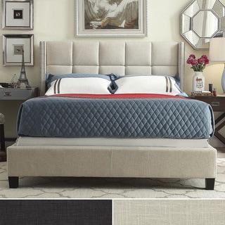 INSPIRE Q Parker Linen Nailhead Wingback Panel King-sized Platform Bed