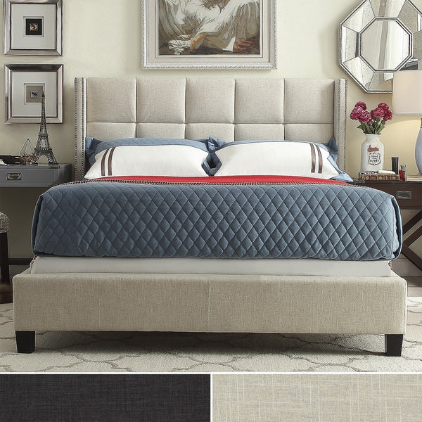 INSPIRE Q Parker Linen Nailhead Wingback Panel Queen-sized Platform Bed