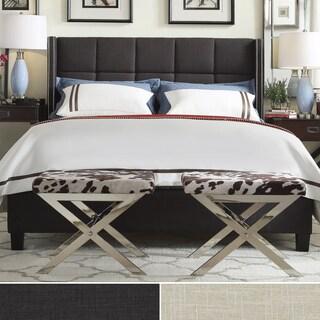 INSPIRE Q Parker Linen Nailhead Wingback Panel Upholstered Full-sized Bed