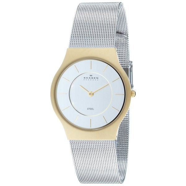 Skagen Men's Analog Dial Two-Tone Stainless Steel Mesh Watch 233LGS
