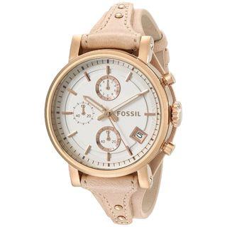 Fossil Women's Original Boyfriend Chronograph White Dial Sandy Leather Watch ES3748