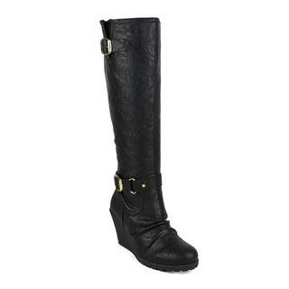Fahrenheit women's Elsa-02 Knee-high Women's Wedge Boots