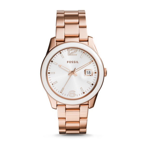 Fossil Women's Perfect Boyfriend White Dial Rose-Tone Gold Stainless Steel Bracelet Watch CE1088
