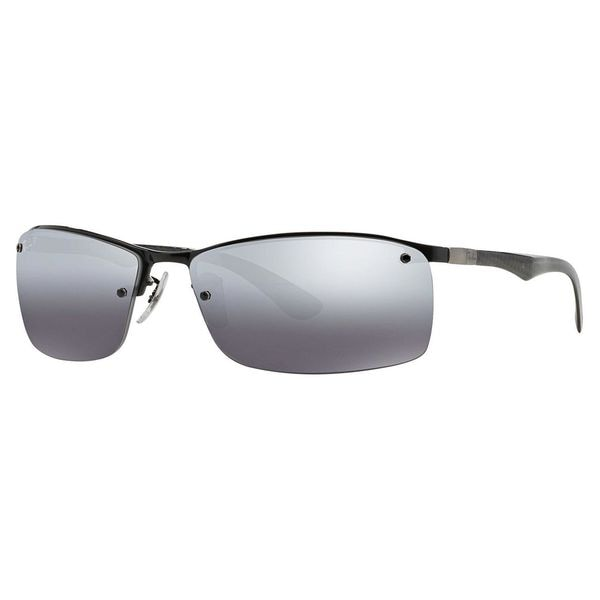 Ray-Ban Men's RB8315 Black Metal Rectangle Polarized Sunglasses