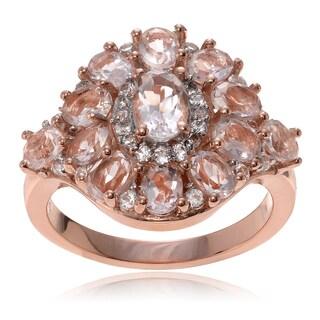 Journee Collection 14k Rose Goldplated Sterling Silver Morganite Topaz Cluster Ring